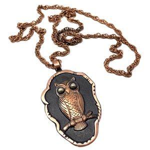 Vintage 1970s Copper Owl Necklace